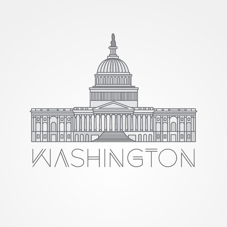 iconic architecture: Washington DC, US Capitol Building. Vector landmark. Modern linear minimalist icon. One line sightseeing concept. Front view.