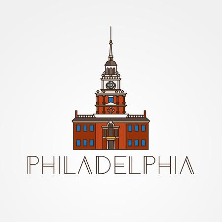 独立記念館フィラデルフィア、アメリカ合衆国のシンボル。ベクトル 1 行のシンプルなアイコン