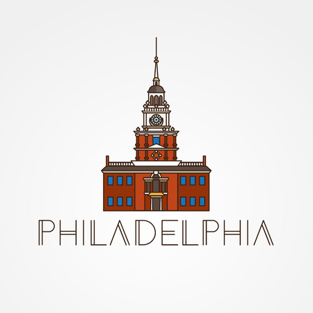 Independence Hall The symbol of Philadelphia, USA. Vector one line minimalist icon