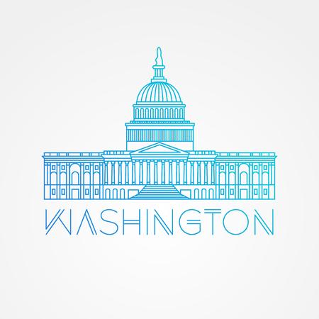 ワシントン DC、米国議会議事堂。ベクトルのランドマーク。現代線形のシンプルなアイコン。ライン観光概念の 1 つ。正面から見た図。