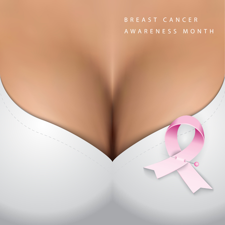 Breast cancer Awareness month. Pink ribbon on realistic vector mash background with closeup big woman bust.