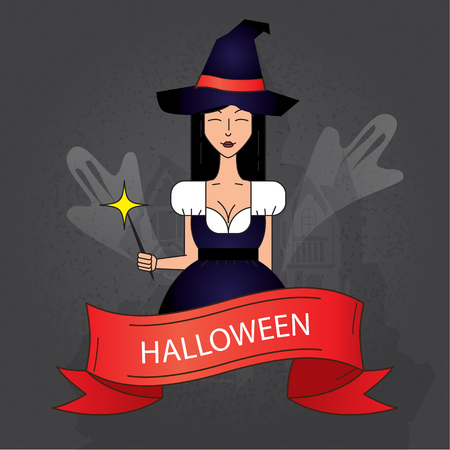 costume party: Linear icon with cute Halloween witch in purple costume with magic hat on dark background. Poster for party. Illustration