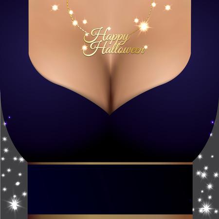 cartel atractivo del partido de Halloween con el primer busto de mujer realista. Colgante de oro La magia brilla en el pecho. La bruja hermosa en alineada púrpura.