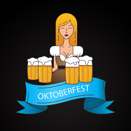 The symbol of the Oktoberfest in Munich, Germany. Linear icon with cute Bavarian waitress dressed in traditional costume . Big mug of beer in her hands. Illustration