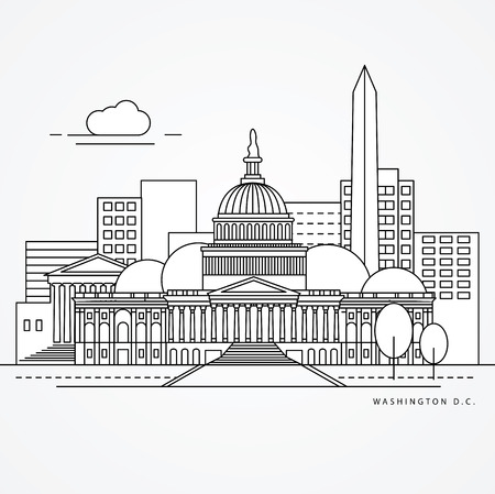 iconic architecture: Linear illustration of Washinton DC, US Flat one line style. Trendy vector illustration, Greatest landmark - Capitol