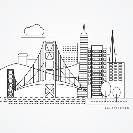 san: Linear illustration of San Francisco, USA. Flat one line style. Trendy vector illustration, Greatest landmark - Golden Gate bridge. Illustration