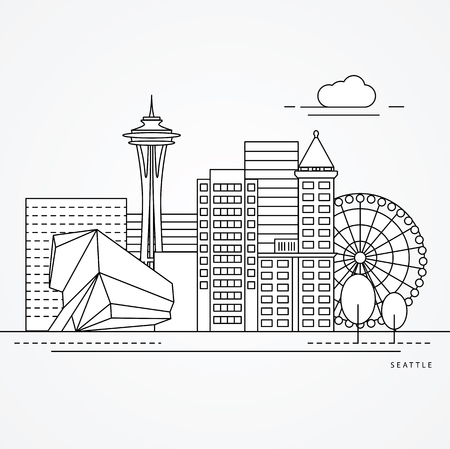 Seattle USA detailed one line minimalist icon. Trendy vector illustration, Linear landmarks. Illustration