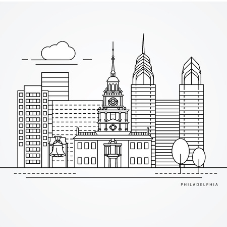 houses of parliament: Independence Hall The symbol of Philadelphia, USA. Vector one line minimalist icon