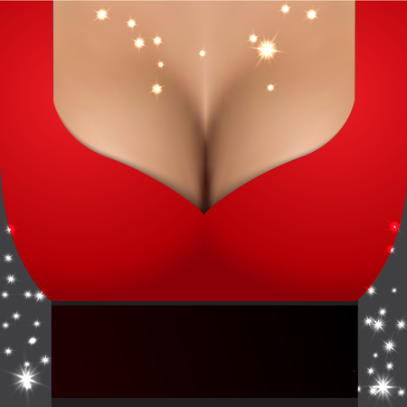 big breast: Sexy girl wearing red dress. Party poster template with closeup realistic woman bust. Magic Golden stars sparkles on the chest.