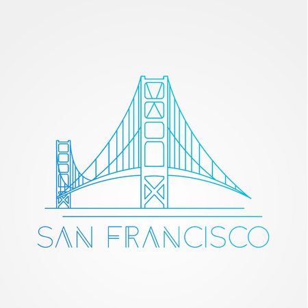 World famous Golden Gate bridge. Greatest Landmarks of America. Linear modern style  icon symbol of San Francisco, US. Minimalist one line Trendy symbol. Illustration