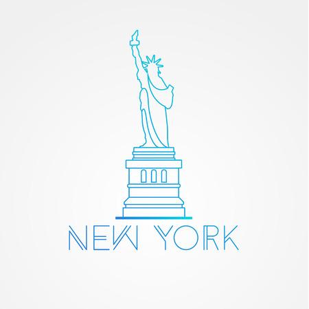 World famous Statue of Liberty. Greatest Landmarks of America. Linear modern style  icon symbol of New York, US. Minimalist one line Trendy symbol.