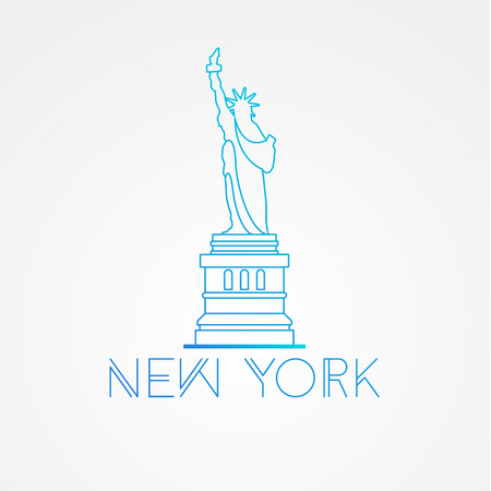 shilouette: World famous Statue of Liberty. Greatest Landmarks of America. Linear modern style  icon symbol of New York, US. Minimalist one line Trendy symbol.