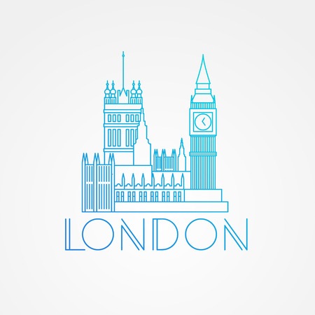 city of westminster: World famous Westminster with Big Ben. Greatest Landmarks of Europe. Linear modern style  icon symbol of London, Great Britain. Minimalist one line Trendy symbol. Illustration
