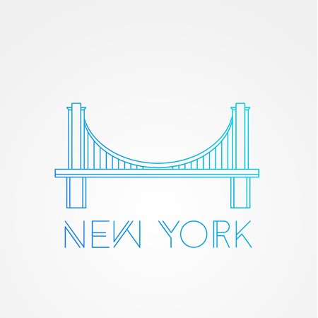 World famous Brooklyn Bridge. Greatest Landmarks of America. Linear modern style  icon symbol of New York, US. Minimalist one line Trendy symbol. 向量圖像