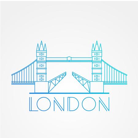 drawbridge: World famous London Bridge. Greatest Landmarks of Europe. Linear modern style  icon symbol of London, Great Britain. Minimalist one line Trendy symbol