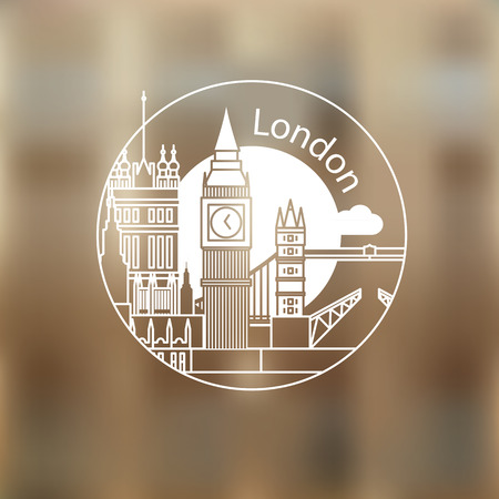 London vector round linear logo. Trendy stylish landmarks. One line style. Westminster and Big Ben - The symbol of London, Great Britain Illustration