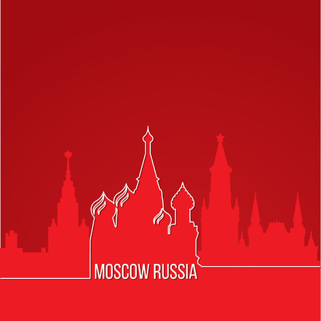 Russia Moscow Concept for web banner. One line composition with greatest landmarks. White linear icon on red background. illustration.