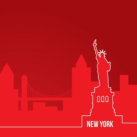New York, USA. Concept for web banner. One line composition with greatest landmarks. White linear icon on red background. illustration.