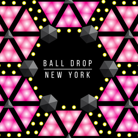New Year Ball drop in Times square New York. Vector decorative background for party poster. Illustration