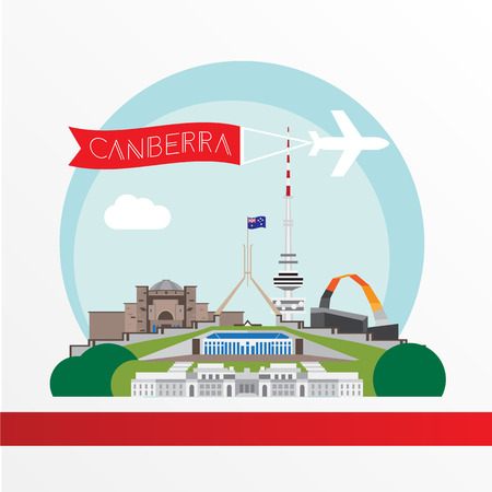Canberra detailed silhouette. Trendy vector illustration, flat style. Stylish colorful landmarks. Parliament House the symbol of Canberra, Australia Ilustrace