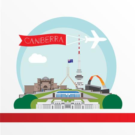 Canberra gedetailleerde silhouet. Trendy vector illustratie, vlakke stijl. Stijlvol kleurrijke bezienswaardigheden. Parliament House het symbool van Canberra, Australië