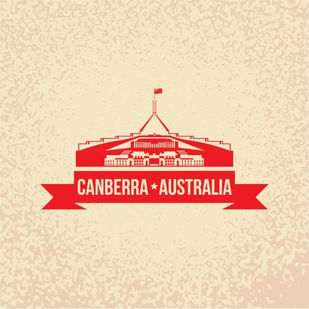 Parliament House the symbol of Canberra, Australia. Grunge rubber stamp. Retro design. Vector illustration.