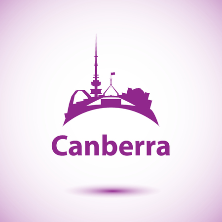 Canberra detailed silhouette. Trendy vector illustration, flat style. Stylish colorful landmarks. Parliament House the symbol of Canberra, Australia Illustration