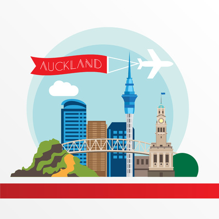 Auckland detailed silhouette. Trendy vector illustration, flat style. Stylish colorful landmarks. The concept for a web banner. Palm tree and Auckland Harbour Bridge - the symbol of New Zeland.