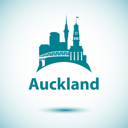 Auckland detailed silhouette. Palm tree and Auckland Harbour Bridge - the symbol of New Zeland. Tourism logo concept 일러스트