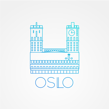 Town hall The symbol of Oslo, Norway. Vector linear Icon for travel agency. Illustration