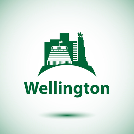 Beehive - the symbol of Wellington, New Zeland. Vector silhouette can be used for travel logo