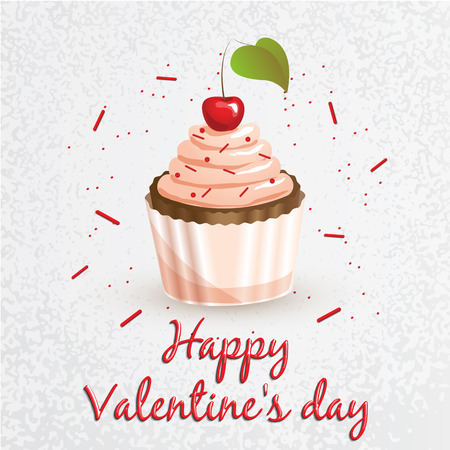 Greeting card. Valentines Day. Series with sweets. Cupcake with the cherry in the center. Set for your vector design. It can be used as a corporate identity bakery or cafe Illustration