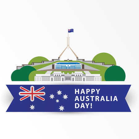 Happy Australia day, 26 january. Greatest landmarks as symbol of country. Canberra- the capital city. Web banner or greeting card. Illustration