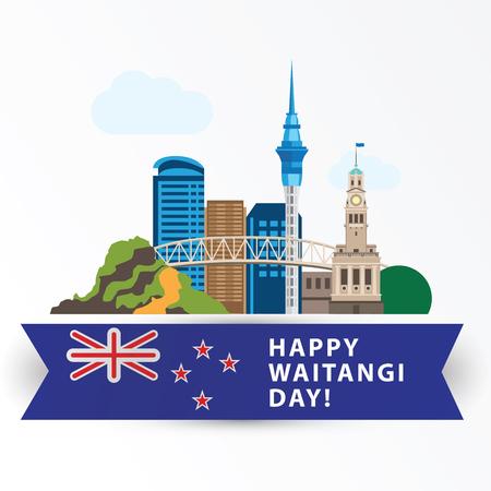 Feliz día de Waitangi, 6 de febrero. Auckland Grandes monumentos como símbolo del país. Web banner o tarjeta de felicitación.