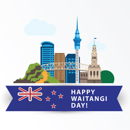 Happy Waitangi day, 6 February. Auckland Greatest landmarks as symbol of the country. Web banner or greeting card.