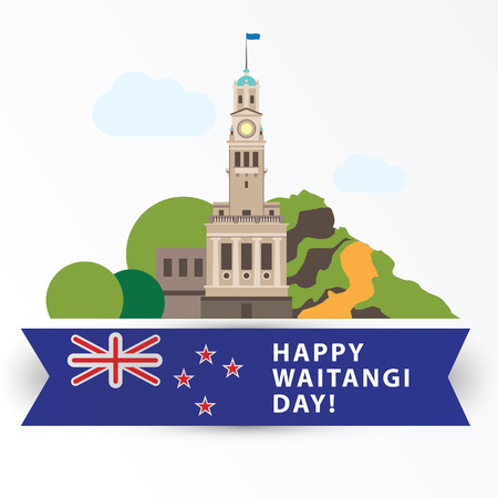 Happy Waitangi day, 6 February. New Zeland Auckland Greatest landmarks as symbol of the country. Web banner or greeting card. Illustration