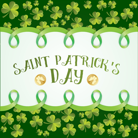 patrics: Greeting card for St. Patrics Day. Clover leaves pattern. Vector background for St. Patricks Day.
