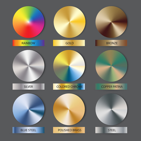 Round cone metal gradients set. Vector illustration for designer. Mesh grid. Gold Silver Bronze Nikel Patina and Rainbow as bonus.