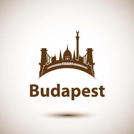 ベクター都市スカイライン ブダペスト ハンガリーのランドマーク。ベクター画像をロゴとして使用できます。  イラスト・ベクター素材