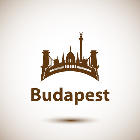 Vector city skyline with landmarks Budapest Hungary. Vector illustration can be used as logo Illustration