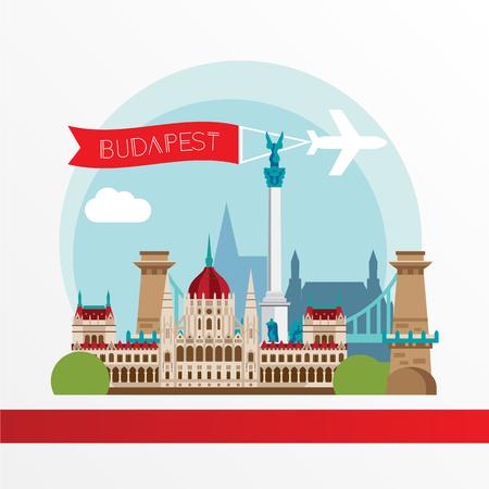 ブダペスト詳細なシルエット。流行のスタイリッシュなカラフルなランドマーク。Web バナーのコンセプトです。鎖橋とハンガリー国会議事堂 - ハン
