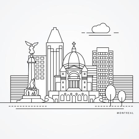 oratoria: Linear illustration of Montreal, Canada. Flat one line style. Trendy vector illustration, Greatest landmark - St Joseph Oratory