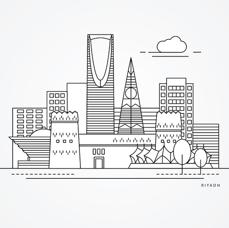 Linear illustration of Riyadh, Saudi Arabia. Flat one line style. Trendy vector illustration, Greatest landmark - Masmak Fortress and Kingdom tower Vettoriali