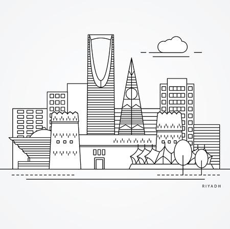 Linear illustration of Riyadh, Saudi Arabia. Flat one line style. Trendy vector illustration, Greatest landmark - Masmak Fortress and Kingdom tower Vectores