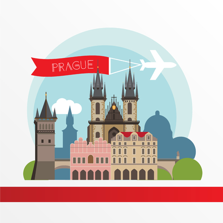 charles: Prague detailed silhouette. Trendy stylish colorful landmarks. The concept for a web banner. The Church of Mother of God before Tyn and the Charles Bridge - The symbol of Chezh Republic