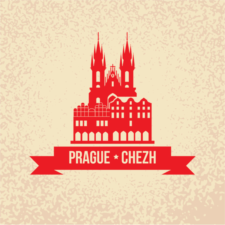 tynsky church: The Church of Mother of God before Tyn, often translated as Church of Our Lady before Tyn. The symbol of Prague, Chezh Republic. Vector silhouette. Icon for travel agency. Retro vintage design Illustration