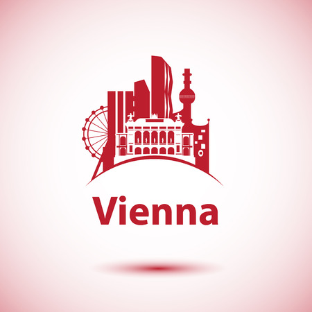 Vector city skyline with landmarks Vienna Austria. Vector illustration can be used as logo Illustration