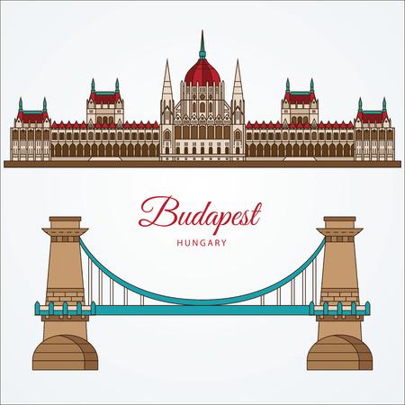 ハンガリー国会議事堂と鎖橋。ブダペスト、ハンガリーのシンボルです。旅行代理店のベクトルの線形アイコン。