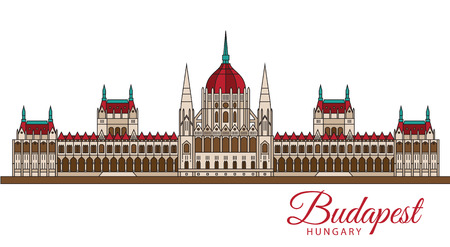 Hungarian Parliament Building also known as House of the Country and House of the Nation. The symbol of Budapest, Hungary. Vector linear Icon for travel agency.