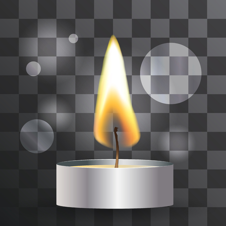 tea candle: Vector realistic flame. Tea Candle on transparent background. Light effect